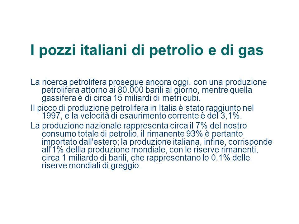 I pozzi italiani di petrolio e di gas La ricerca petrolifera prosegue ancora oggi, con una produzione petrolifera attorno ai 80.000 barili al giorno,