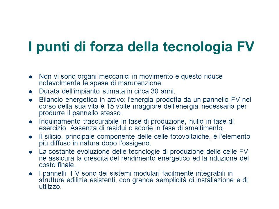 I punti di forza della tecnologia FV Non vi sono organi meccanici in movimento e questo riduce notevolmente le spese di manutenzione. Durata dellimpia