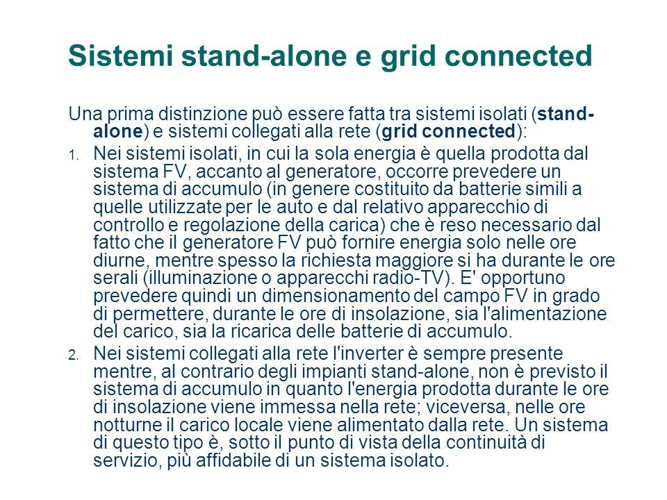 Sistemi stand-alone e grid connected Una prima distinzione può essere fatta tra sistemi isolati (stand- alone) e sistemi collegati alla rete (grid con