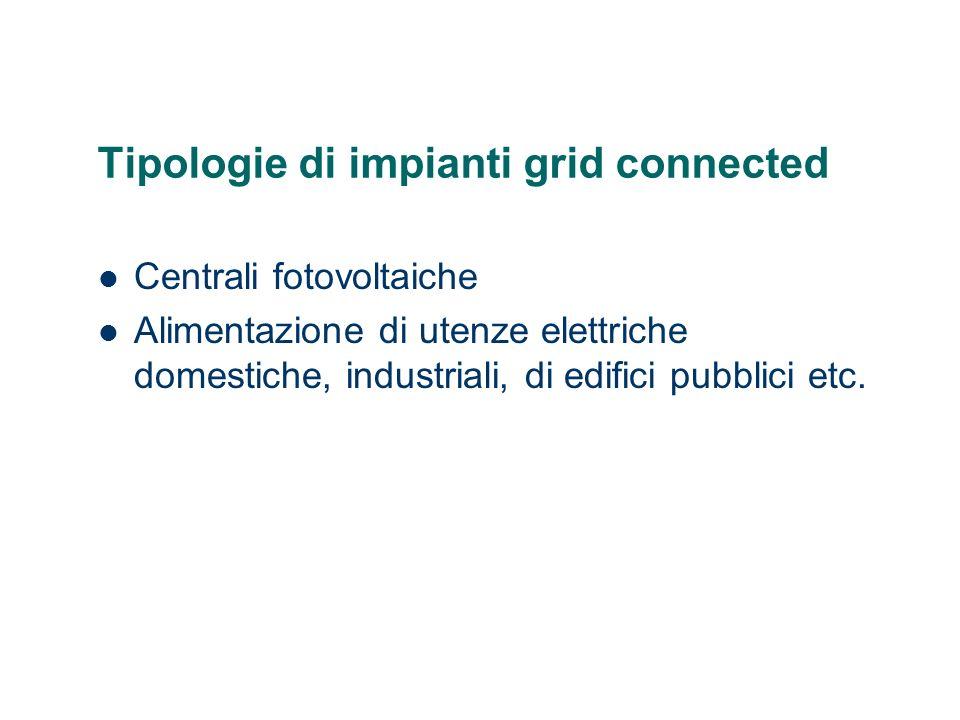 Tipologie di impianti grid connected Centrali fotovoltaiche Alimentazione di utenze elettriche domestiche, industriali, di edifici pubblici etc.
