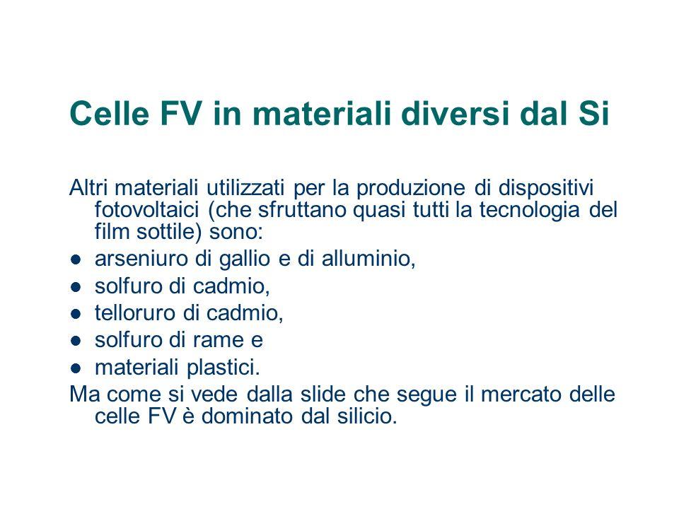 Celle FV in materiali diversi dal Si Altri materiali utilizzati per la produzione di dispositivi fotovoltaici (che sfruttano quasi tutti la tecnologia
