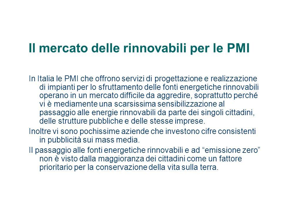 Il mercato delle rinnovabili per le PMI In Italia le PMI che offrono servizi di progettazione e realizzazione di impianti per lo sfruttamento delle fo
