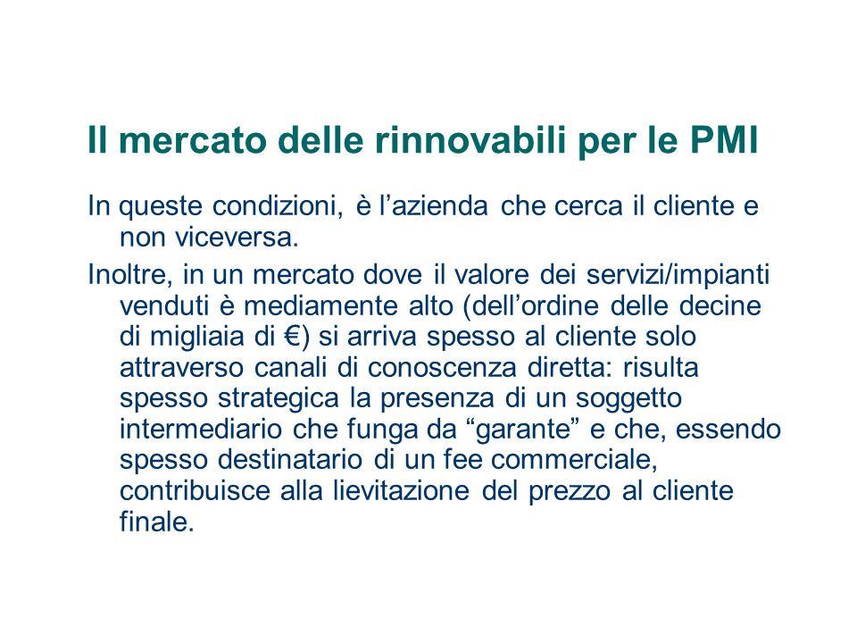 Il mercato delle rinnovabili per le PMI In queste condizioni, è lazienda che cerca il cliente e non viceversa. Inoltre, in un mercato dove il valore d