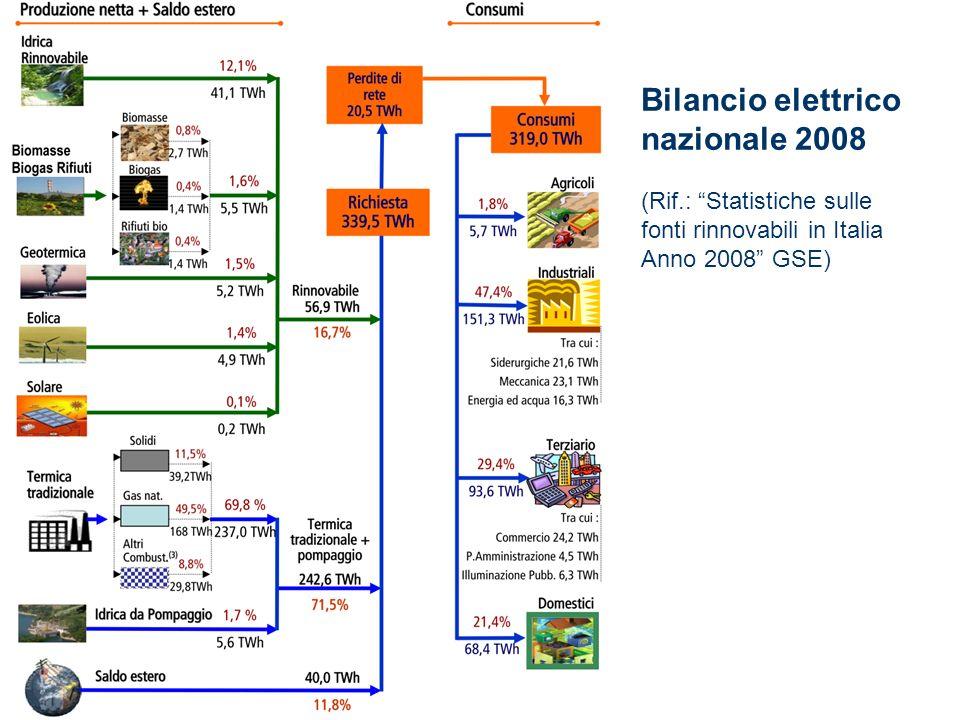 Bilancio elettrico nazionale 2008 (Rif.: Statistiche sulle fonti rinnovabili in Italia Anno 2008 GSE)
