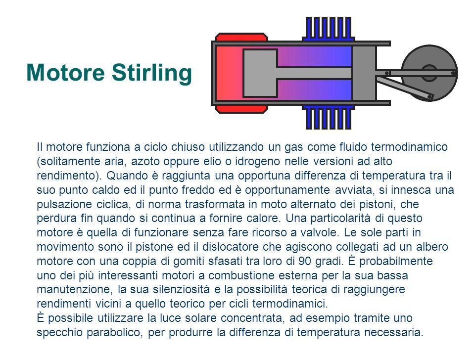 Motore Stirling Il motore funziona a ciclo chiuso utilizzando un gas come fluido termodinamico (solitamente aria, azoto oppure elio o idrogeno nelle v