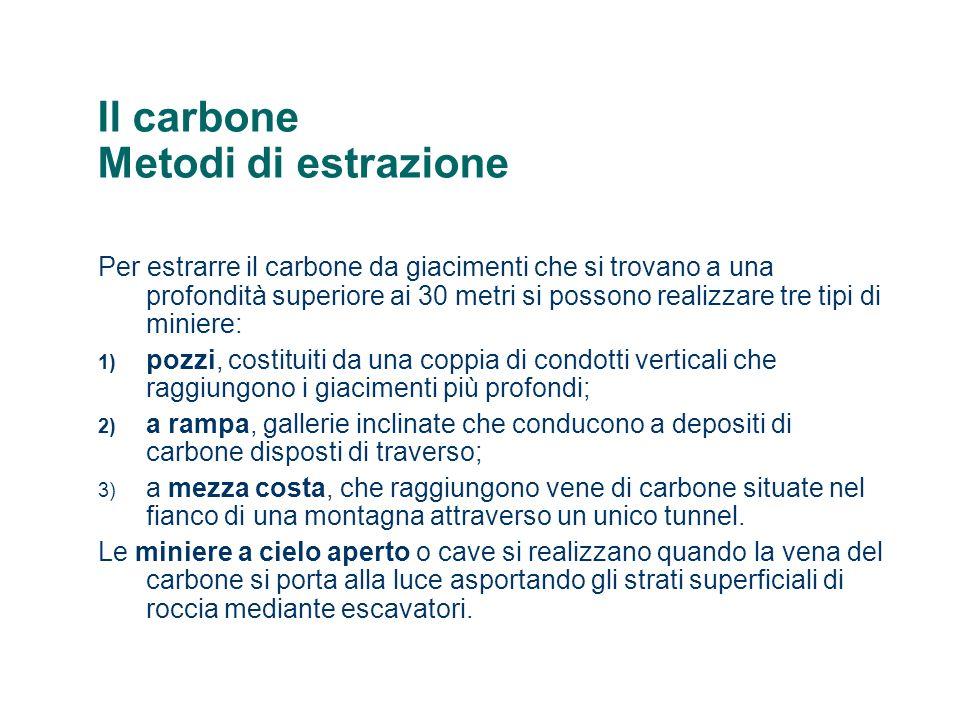 Il carbone Metodi di estrazione Per estrarre il carbone da giacimenti che si trovano a una profondità superiore ai 30 metri si possono realizzare tre