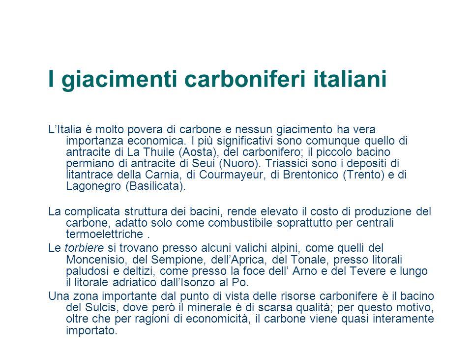 I giacimenti carboniferi italiani LItalia è molto povera di carbone e nessun giacimento ha vera importanza economica. I più significativi sono comunqu