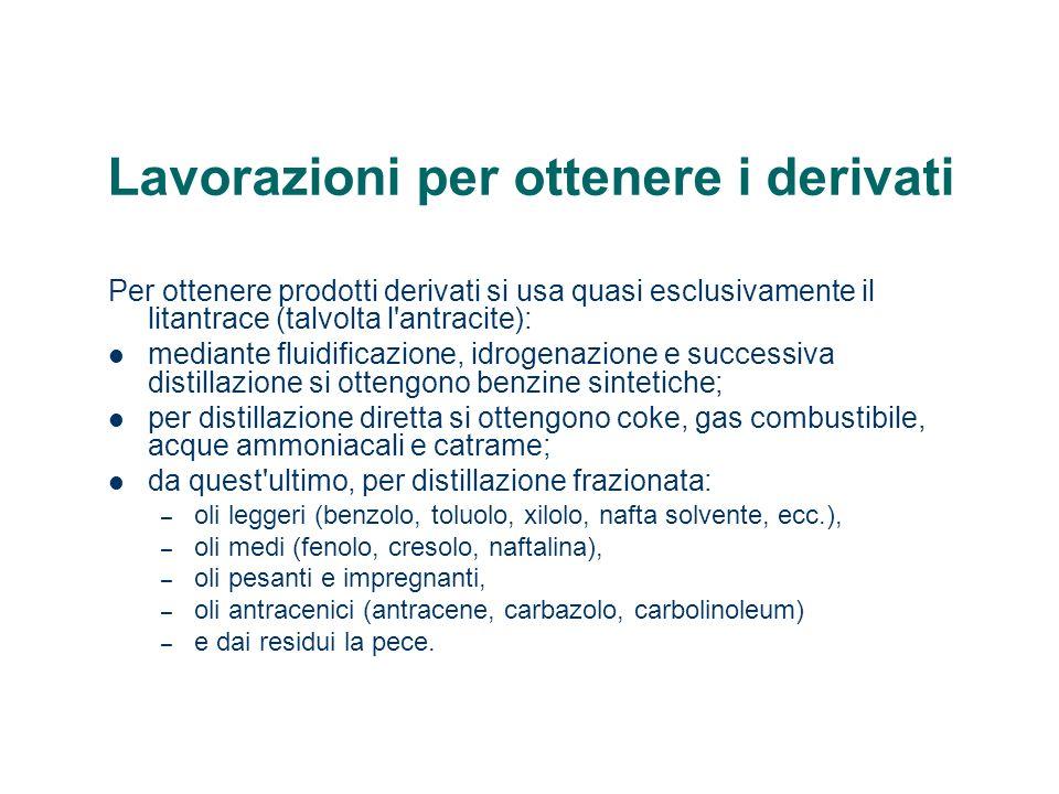 Lavorazioni per ottenere i derivati Per ottenere prodotti derivati si usa quasi esclusivamente il litantrace (talvolta l'antracite): mediante fluidifi