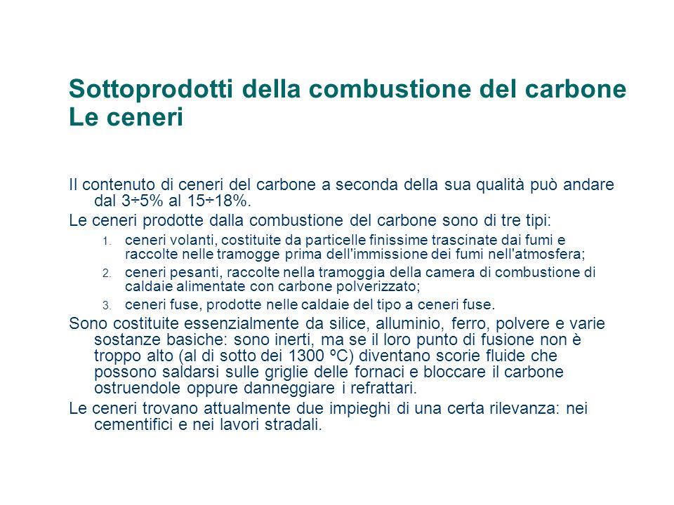 Sottoprodotti della combustione del carbone Le ceneri Il contenuto di ceneri del carbone a seconda della sua qualità può andare dal 3÷5% al 15÷18%. Le