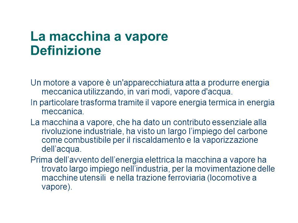 La macchina a vapore Definizione Un motore a vapore è un'apparecchiatura atta a produrre energia meccanica utilizzando, in vari modi, vapore d'acqua.