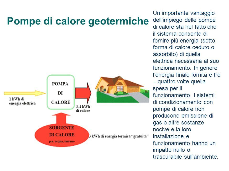 Pompe di calore geotermiche Un importante vantaggio dellimpiego delle pompe di calore sta nel fatto che il sistema consente di fornire più energia (so