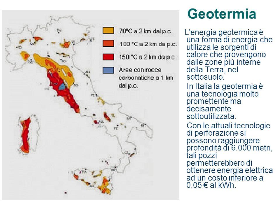 Geotermia L'energia geotermica è una forma di energia che utilizza le sorgenti di calore che provengono dalle zone più interne della Terra, nel sottos