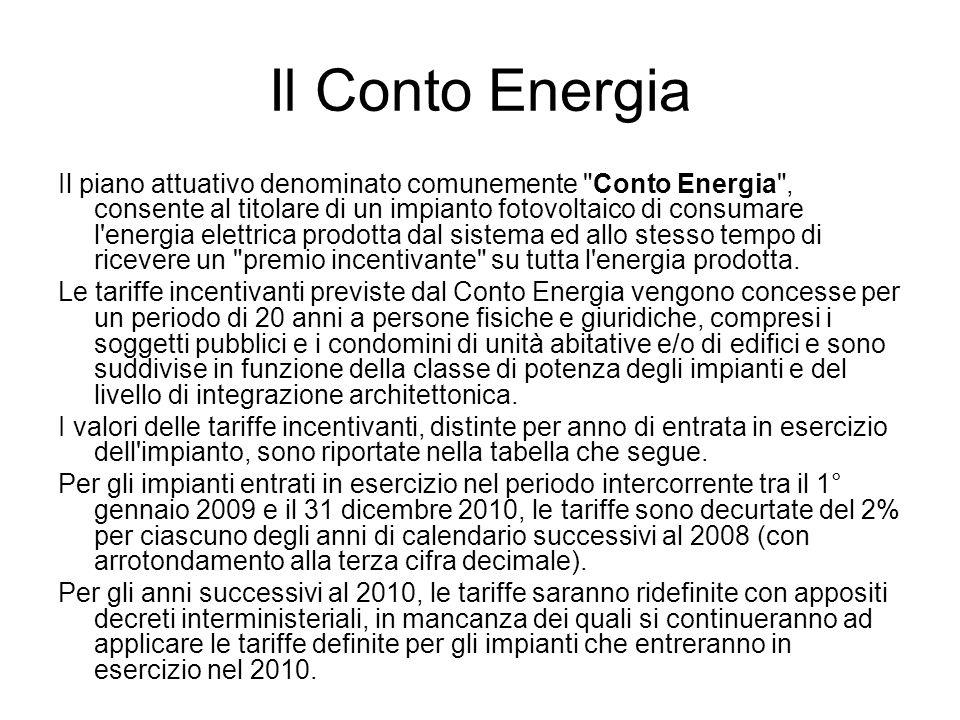 Il Conto Energia Il piano attuativo denominato comunemente Conto Energia , consente al titolare di un impianto fotovoltaico di consumare l energia elettrica prodotta dal sistema ed allo stesso tempo di ricevere un premio incentivante su tutta l energia prodotta.