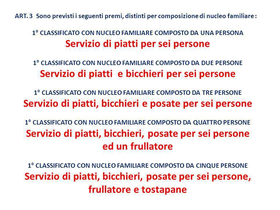 ART. 3 Sono previsti i seguenti premi, distinti per composizione di nucleo familiare : 1° CLASSIFICATO CON NUCLEO FAMILIARE COMPOSTO DA UNA PERSONA Se