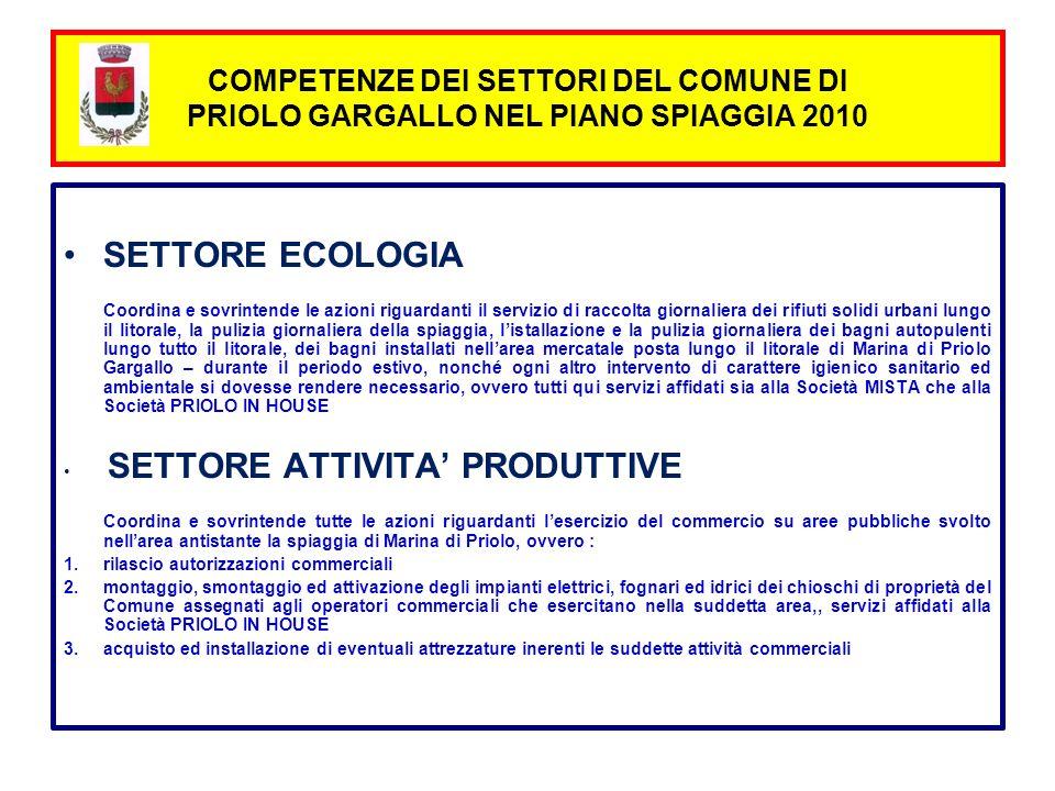 SETTORE ECOLOGIA Coordina e sovrintende le azioni riguardanti il servizio di raccolta giornaliera dei rifiuti solidi urbani lungo il litorale, la puli