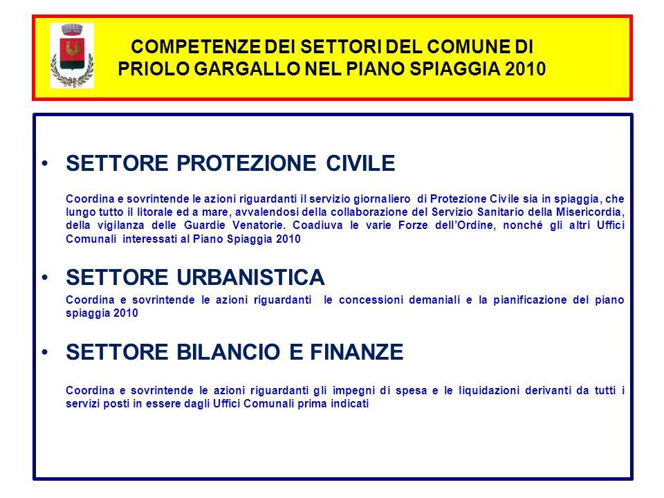 SETTORE PROTEZIONE CIVILE Coordina e sovrintende le azioni riguardanti il servizio giornaliero di Protezione Civile sia in spiaggia, che lungo tutto i
