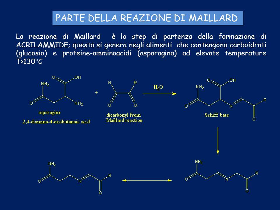PARTE DELLA REAZIONE DI MAILLARD La reazione di Maillard è lo step di partenza della formazione di ACRILAMMIDE; questa si genera negli alimenti che co
