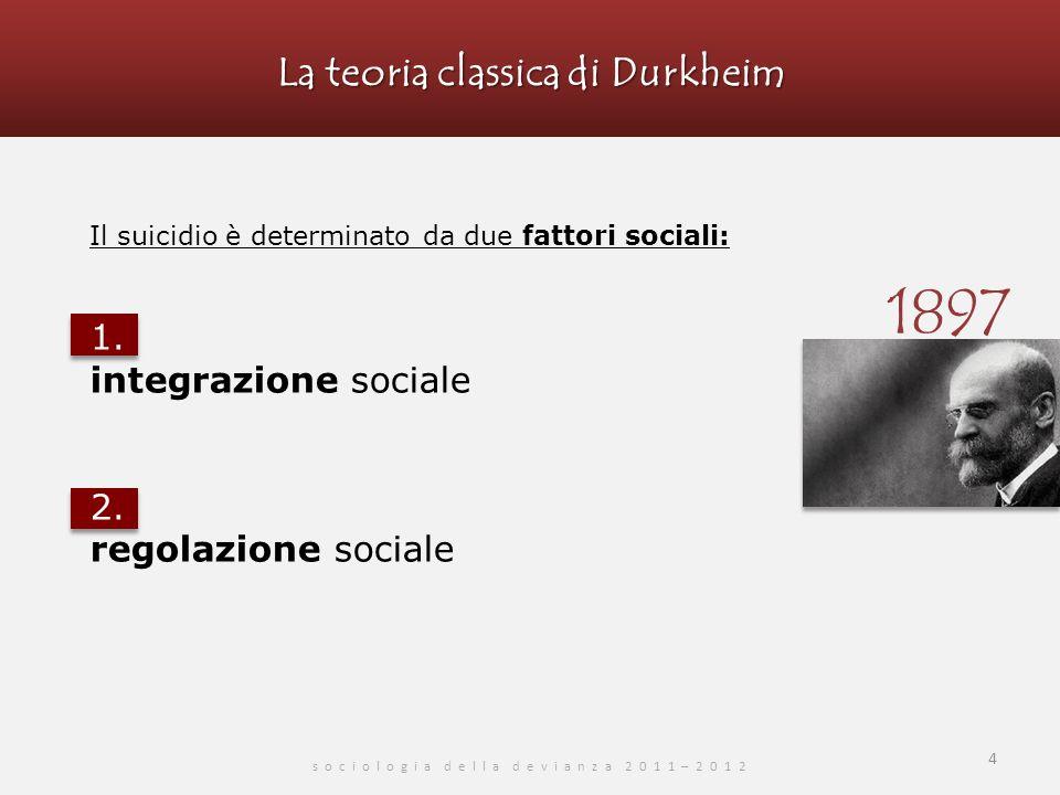 La teoria classica di Durkheim s o c i o l o g i a d e l l a d e v i a n z a 2 0 1 1 – 2 0 1 2 5 1.