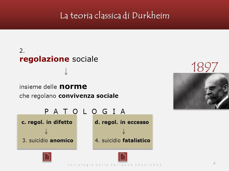 La teoria classica di Durkheim s o c i o l o g i a d e l l a d e v i a n z a 2 0 1 1 – 2 0 1 2 6 2.