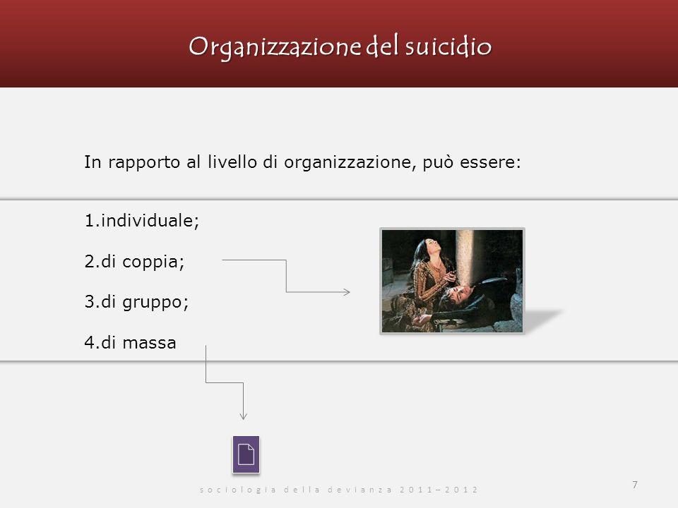 Organizzazione del suicidio s o c i o l o g i a d e l l a d e v i a n z a 2 0 1 1 – 2 0 1 2 In rapporto al livello di organizzazione, può essere: 1.individuale; 2.di coppia; 3.di gruppo; 4.di massa 7