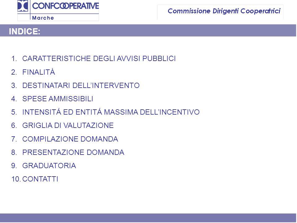 1.CARATTERISTICHE DEGLI AVVISI PUBBLICI 2.FINALITÀ 3.DESTINATARI DELLINTERVENTO 4.SPESE AMMISSIBILI 5.INTENSITÁ ED ENTITÁ MASSIMA DELLINCENTIVO 6.GRIGLIA DI VALUTAZIONE 7.COMPILAZIONE DOMANDA 8.PRESENTAZIONE DOMANDA 9.GRADUATORIA 10.CONTATTI INDICE: