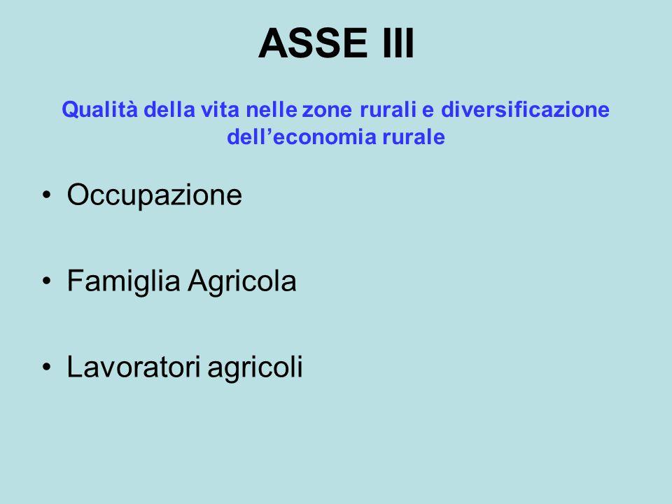 ASSE III Occupazione Famiglia Agricola Lavoratori agricoli Qualità della vita nelle zone rurali e diversificazione delleconomia rurale