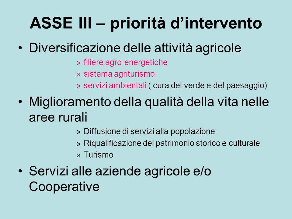 ASSE III – priorità dintervento Diversificazione delle attività agricole »filiere agro-energetiche »sistema agriturismo »servizi ambientali ( cura del