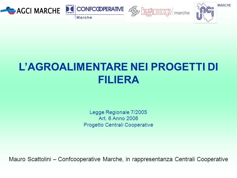MARCHE Mauro Scattolini – Confcooperative Marche, in rappresentanza Centrali Cooperative LAGROALIMENTARE NEI PROGETTI DI FILIERA Legge Regionale 7/200