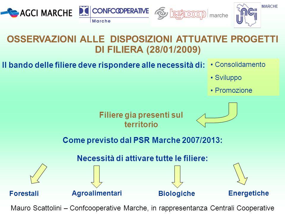 MARCHE Mauro Scattolini – Confcooperative Marche, in rappresentanza Centrali Cooperative OSSERVAZIONI ALLE DISPOSIZIONI ATTUATIVE PROGETTI DI FILIERA