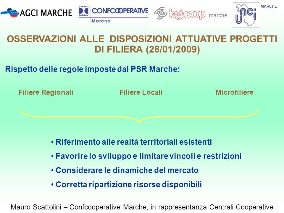 MARCHE Mauro Scattolini – Confcooperative Marche, in rappresentanza Centrali Cooperative Rispetto delle regole imposte dal PSR Marche: Filiere Regiona