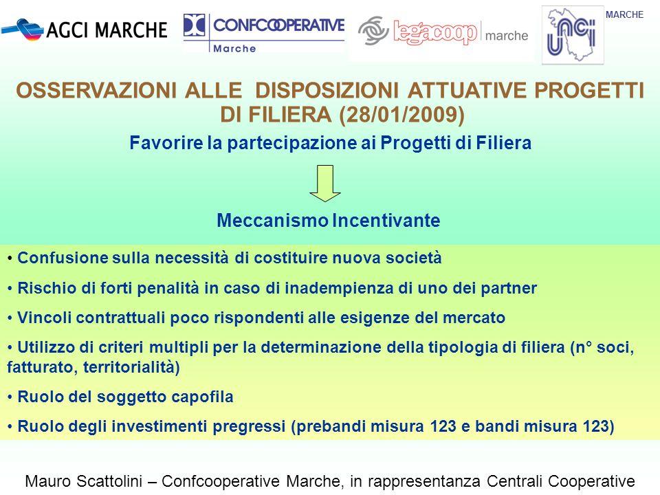 MARCHE Mauro Scattolini – Confcooperative Marche, in rappresentanza Centrali Cooperative Meccanismo Incentivante Favorire la partecipazione ai Progett