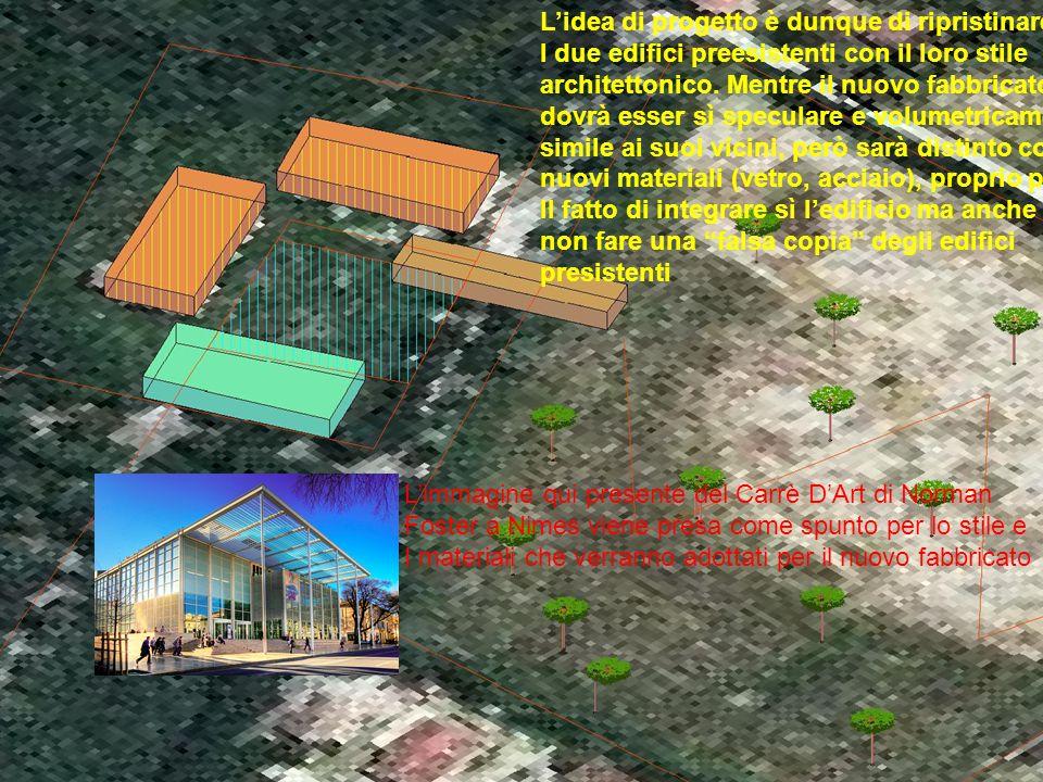 Lidea di progetto è dunque di ripristinare I due edifici preesistenti con il loro stile architettonico.