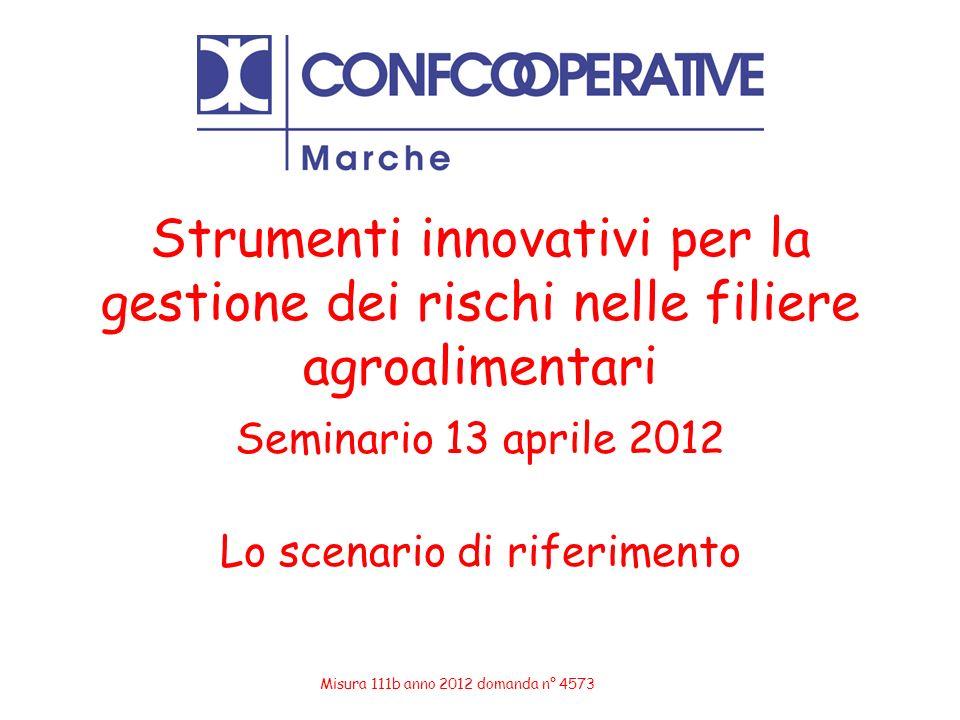 Strumenti innovativi per la gestione dei rischi nelle filiere agroalimentari Seminario 13 aprile 2012 Lo scenario di riferimento Misura 111b anno 2012
