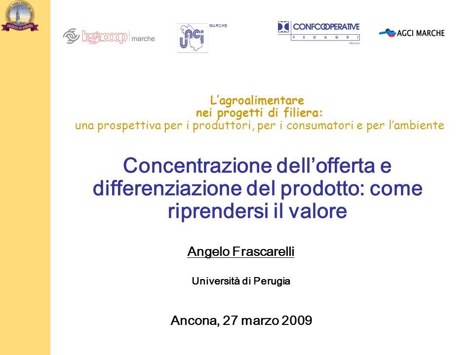 Lagroalimentare nei progetti di filiera: una prospettiva per i produttori, per i consumatori e per lambiente Concentrazione dellofferta e differenziaz