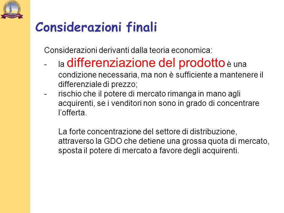 Considerazioni derivanti dalla teoria economica: -la differenziazione del prodotto è una condizione necessaria, ma non è sufficiente a mantenere il di