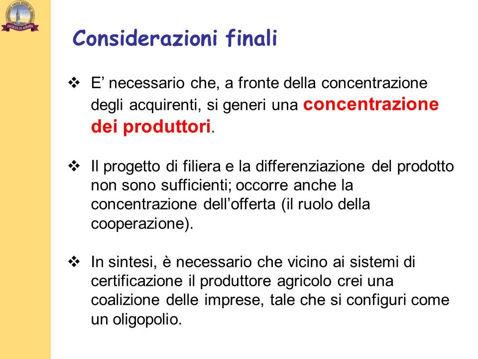 E necessario che, a fronte della concentrazione degli acquirenti, si generi una concentrazione dei produttori. Il progetto di filiera e la differenzia