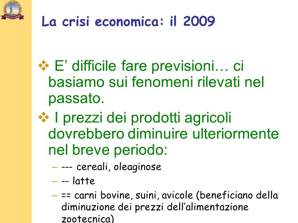 La crisi economica: il 2009 E difficile fare previsioni… ci basiamo sui fenomeni rilevati nel passato. I prezzi dei prodotti agricoli dovrebbero dimin
