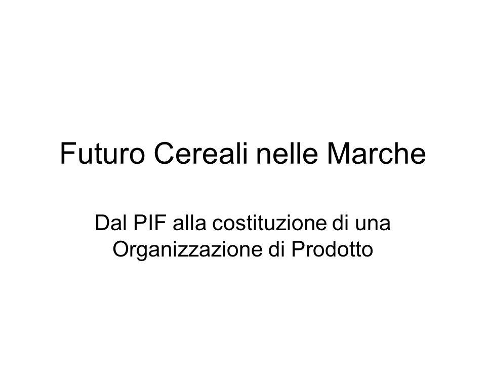 Futuro Cereali nelle Marche Dal PIF alla costituzione di una Organizzazione di Prodotto