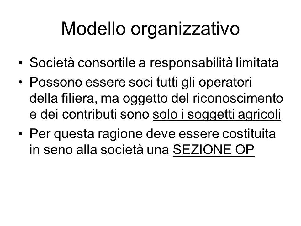 Modello organizzativo Società consortile a responsabilità limitata Possono essere soci tutti gli operatori della filiera, ma oggetto del riconosciment