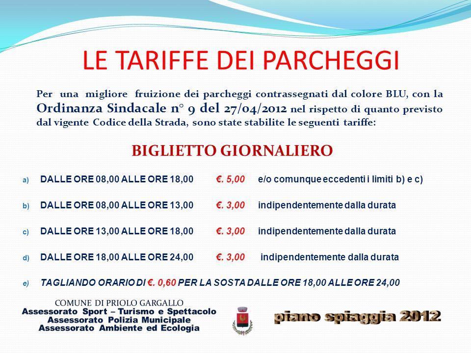 LE TARIFFE DEI PARCHEGGI Per una migliore fruizione dei parcheggi contrassegnati dal colore BLU, con la Ordinanza Sindacale n° 9 del 27/04/2012 nel ri