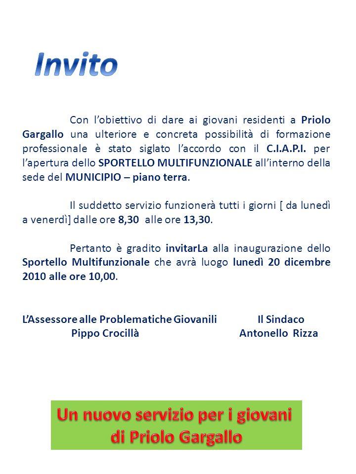 Con lobiettivo di dare ai giovani residenti a Priolo Gargallo una ulteriore e concreta possibilità di formazione professionale è stato siglato laccord