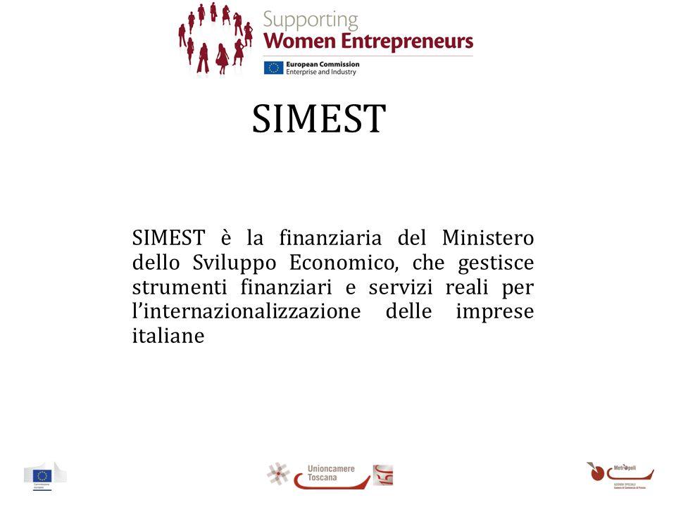 SIMEST SIMEST è la finanziaria del Ministero dello Sviluppo Economico, che gestisce strumenti finanziari e servizi reali per linternazionalizzazione delle imprese italiane
