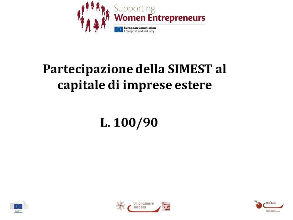 Partecipazione della SIMEST al capitale di imprese estere L. 100/90