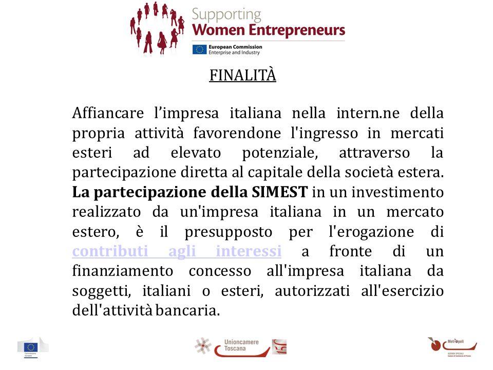FINALITÀ Affiancare limpresa italiana nella intern.ne della propria attività favorendone l ingresso in mercati esteri ad elevato potenziale, attraverso la partecipazione diretta al capitale della società estera.