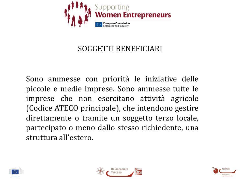 SOGGETTI BENEFICIARI Sono ammesse con priorità le iniziative delle piccole e medie imprese.