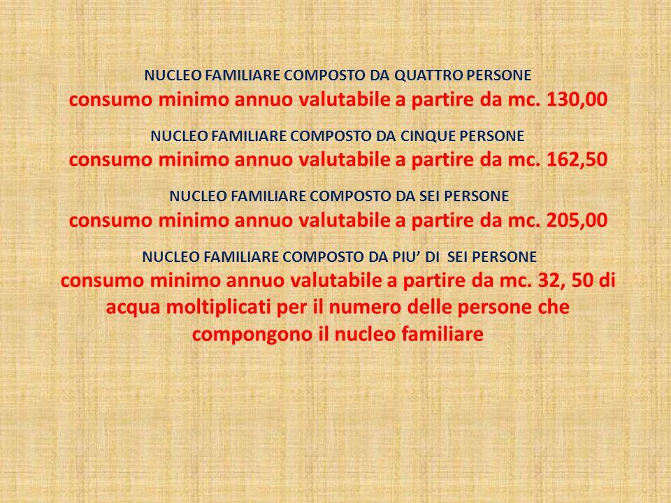 NUCLEO FAMILIARE COMPOSTO DA QUATTRO PERSONE consumo minimo annuo valutabile a partire da mc.
