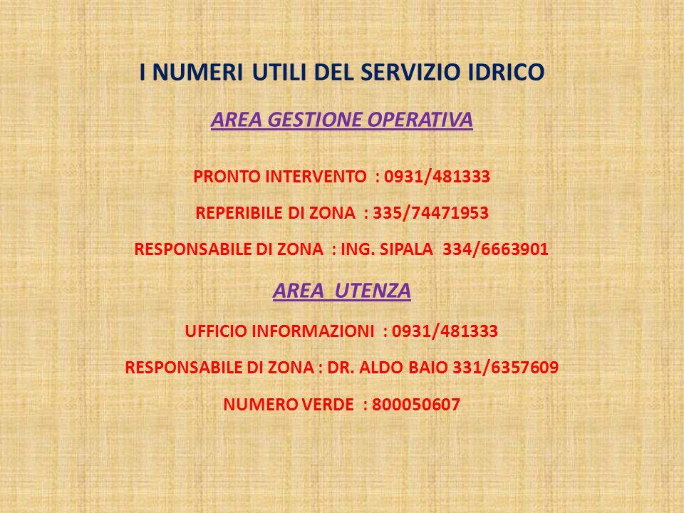 I NUMERI UTILI DEL SERVIZIO IDRICO AREA GESTIONE OPERATIVA PRONTO INTERVENTO : 0931/481333 REPERIBILE DI ZONA : 335/74471953 RESPONSABILE DI ZONA : ING.