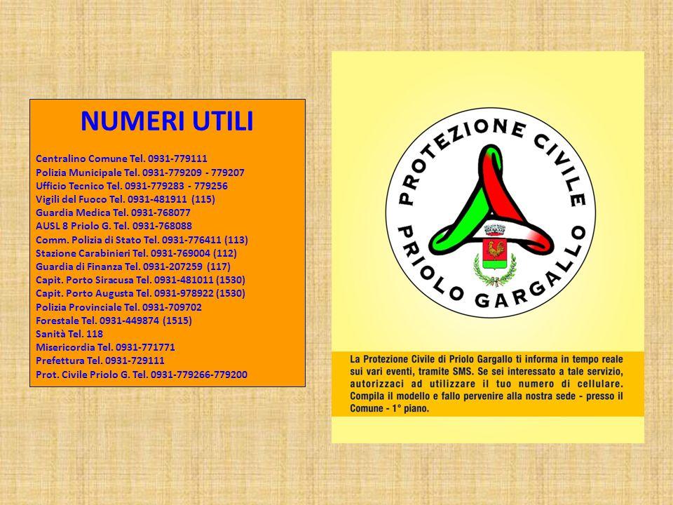 NUMERI UTILI Centralino Comune Tel.0931-779111 Polizia Municipale Tel.