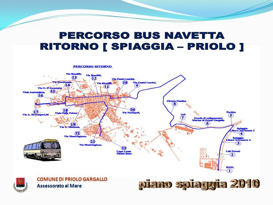 NUMERO FERMATA FERMATA ORARIO DELLE FERMATE PERCORSO DI RITORNO BUS NAVETTA N° 2 [ SPIAGGIA – PRIOLO] CORSA 1 CORSA 2 CORSA 3 CORSA 4 CORSA 5 CORSA 6 CORSA 7 CORSA 8 CORSA 9 CORSA 10 CAPO LINEA CENTRALE ENEL ARCHIMEDE 9,4510,4511,4512,4514,4515,4516,4517,4518,4519,45 2 SPIAGGIA LIBERA ATTREZZATA A 9,4810,4811,4812,4814,4815,4816,4817,4818,4819,48 3 SPIAGGIA LIBERA ATTREZZATA C 9,5010,5011,5012,5014,5015,5016,5017,5018,5019,50 4 FORTINO MARINA DI PRIOLO GARGALLO 9,5210,5211,5212,5214,5215,5216,5217,5218,5219,52 5 STRADA DI COLLEGAMENTO MARINA DI PRIOLO GARGALLO 9,5410,5411,5412,5414,5415,5416,5417,5418,5419,54 6 PIAZZALE DEPURATORE I.A.S.
