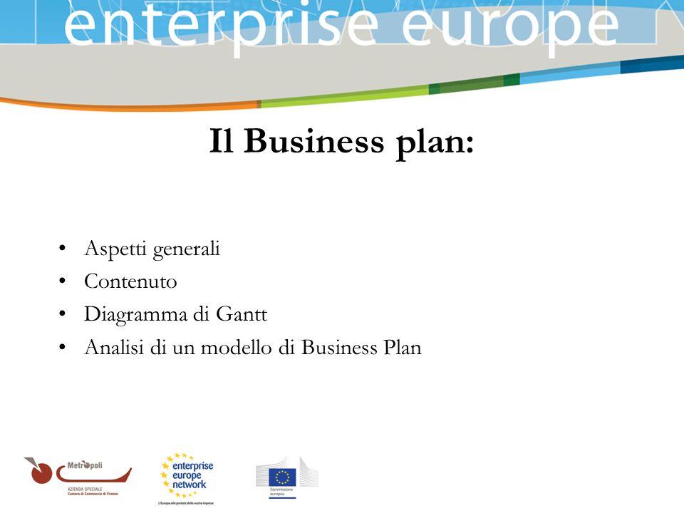 Azienda Speciale della Camera di Commercio Il Business plan: Aspetti generali Contenuto Diagramma di Gantt Analisi di un modello di Business Plan